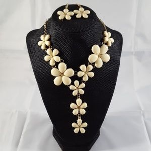 Beaded Ivory and Gold Statement Necklace Set